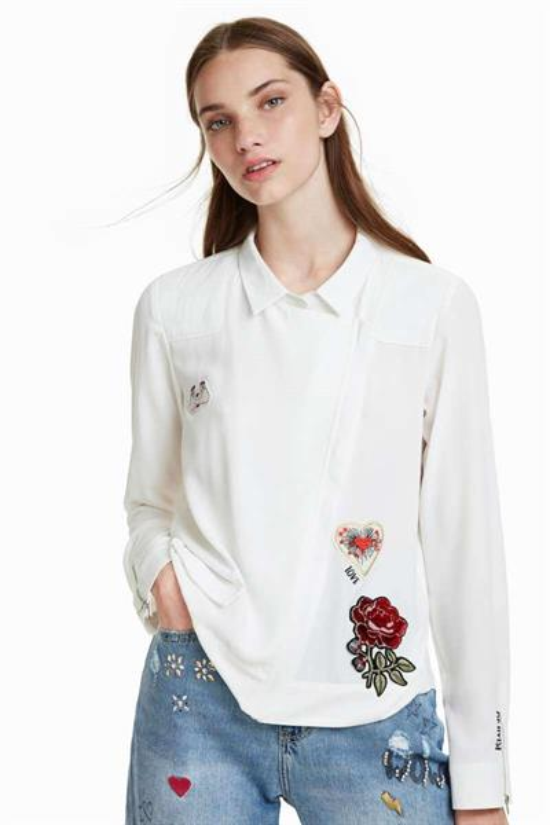 košeľa Desigual Biker blanco