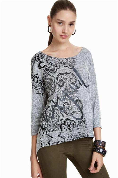tričko Desigual Nisa gris vigore claro