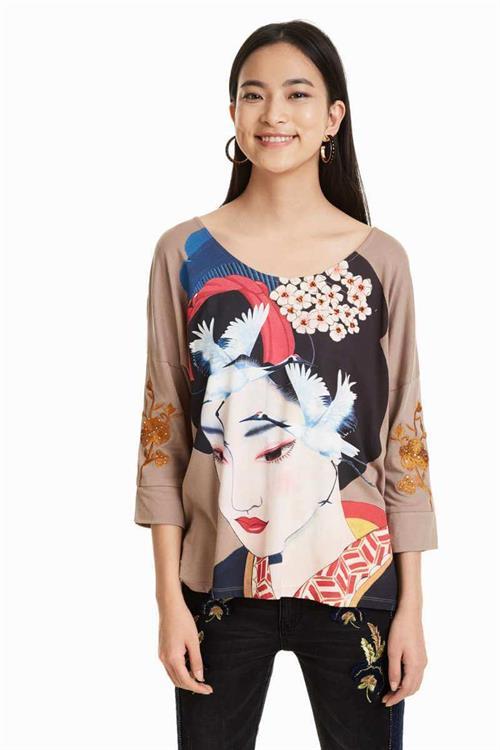 tričko Desigual Madame Butterfly sahara