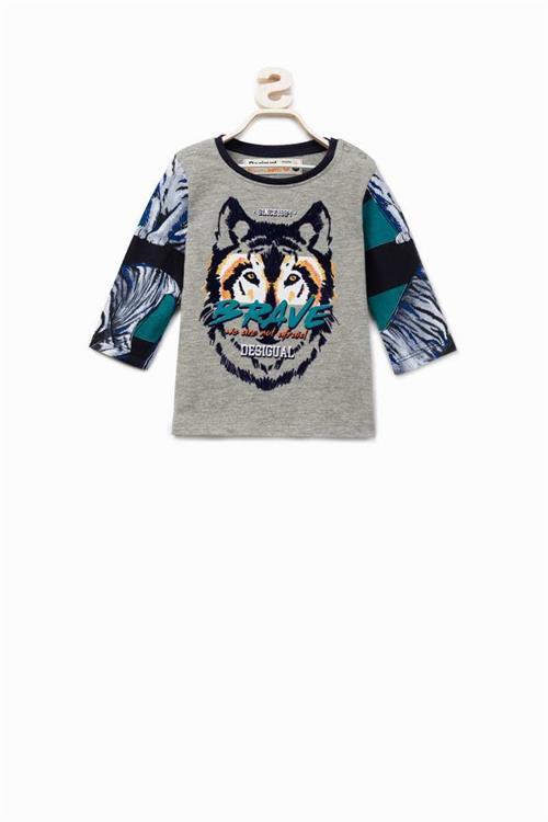 tričko Desigual Joseba gris vigore claro