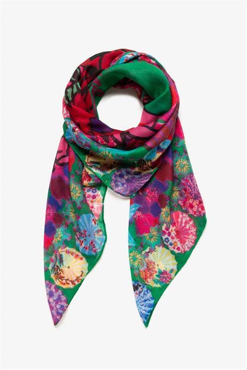 šátek Desigual Japtiger verde mantel