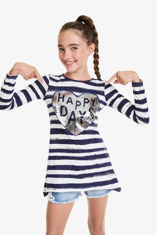 tričko Desigual Happy blanco