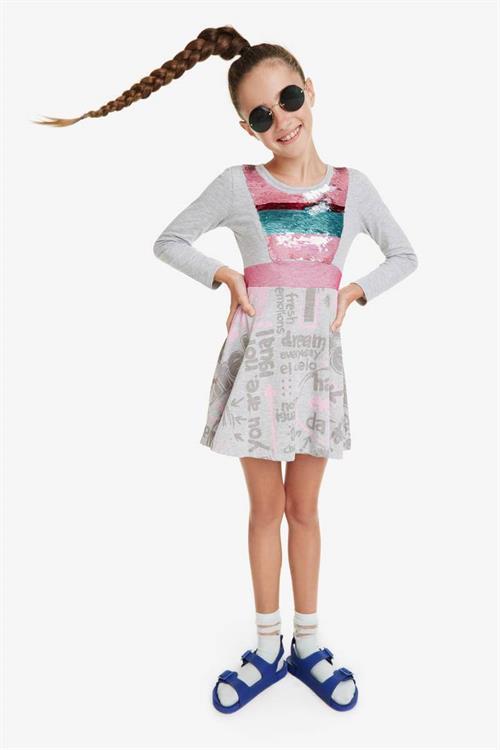 šaty Desigual Oroya gris vigore claro