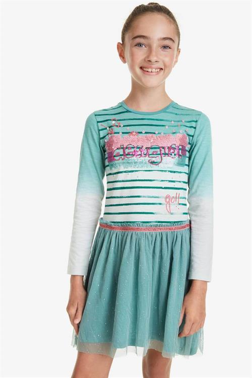 šaty Desigual Depansar verde agua