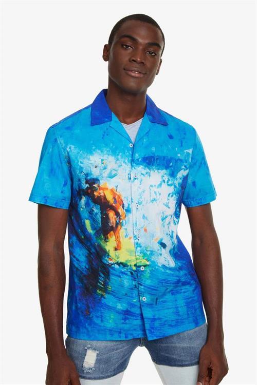 košeľa Desigual Boone turquesa