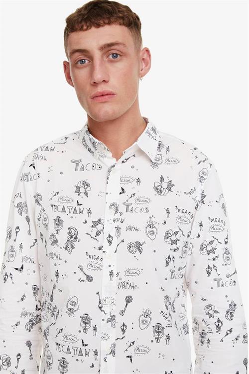košile Desigual Ehud blanco