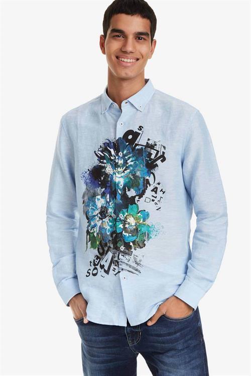 košile Desigual Diego celeste