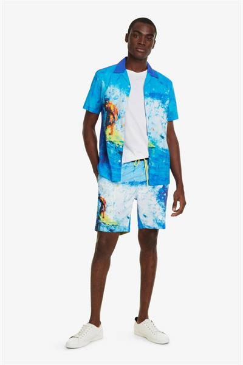 plážové šortky Desigual Jacob turquesa