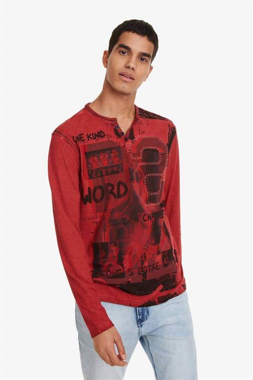 tričko Desigual Emilio rojo loft