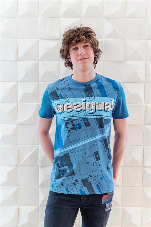 tričko Desigual Rodrigo china blue