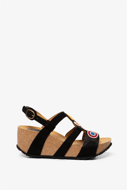 sandále Desigual Odisea Flower Bead negro