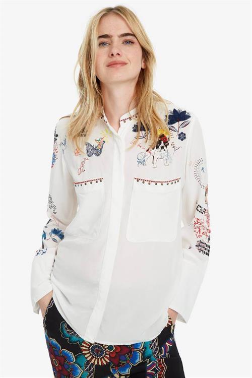 košile Desigual Xenia blanco