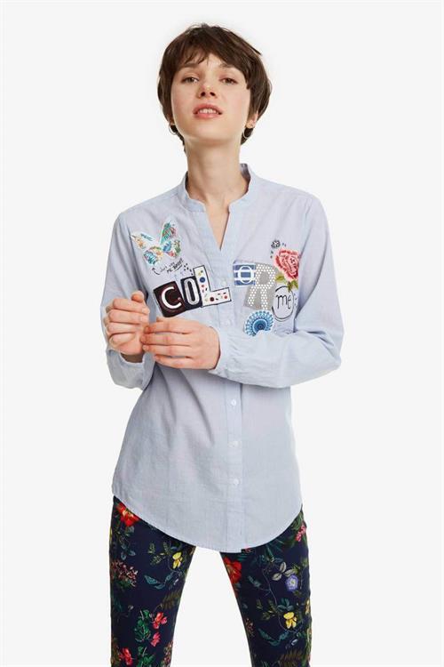 košile Desigual Georgina turquesa