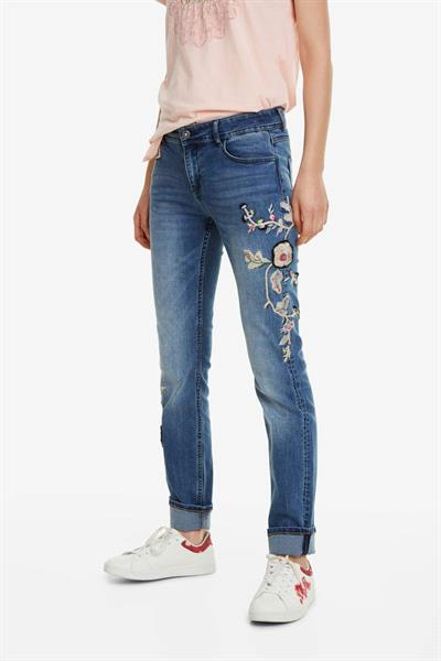džínsy Desigual Barcelona Flowers denim medium wash