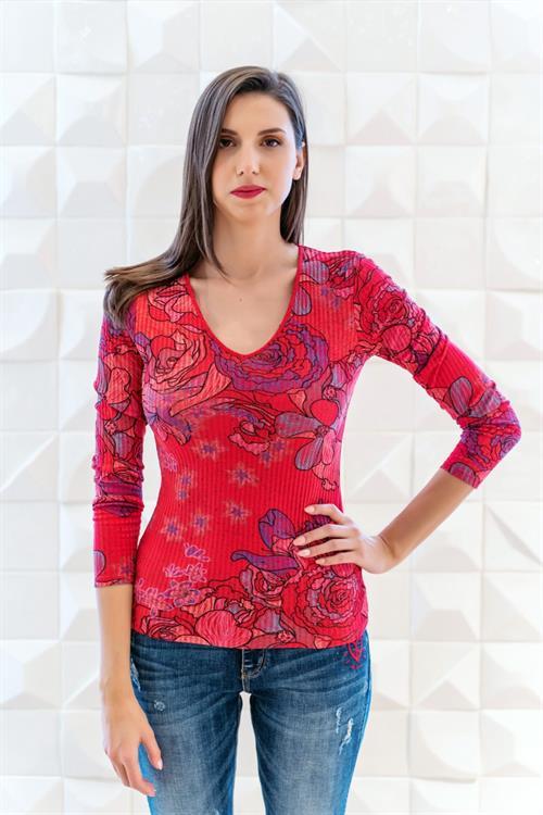 tričko Desigual Mireia rojo fluor