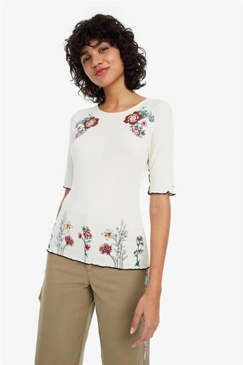 tričko Desigual Secret Garden blanco