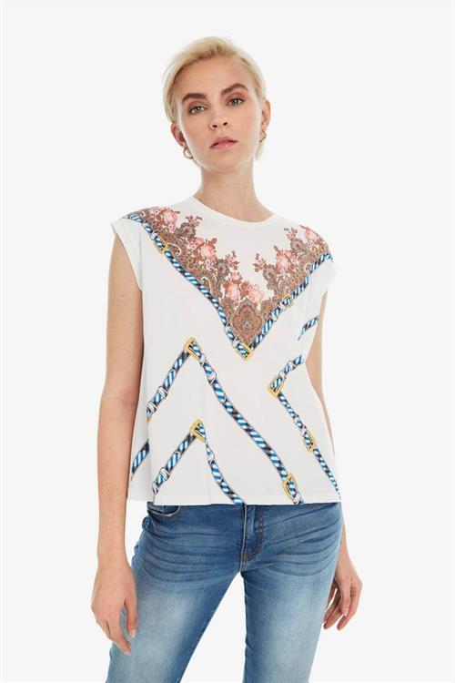 tričko Desigual Sila blanco
