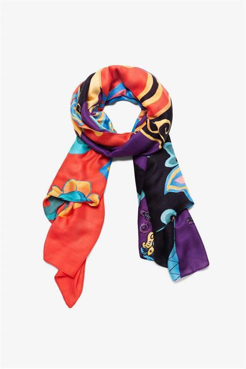 šátek Desigual Patch Tapestry negro