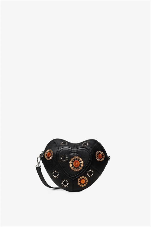 kabelka Desigual Flower Heart negro