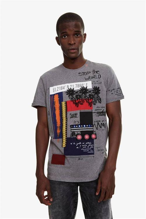 tričko Desigual Domingo gris vigore oscuro