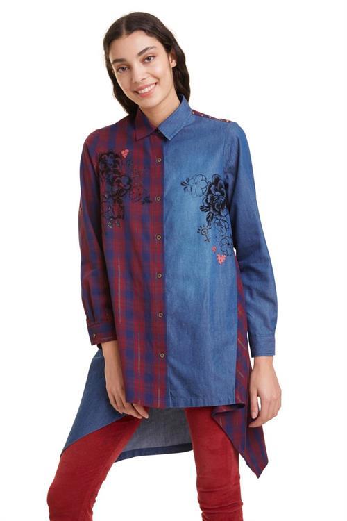 košile Desigual Fez denim patch