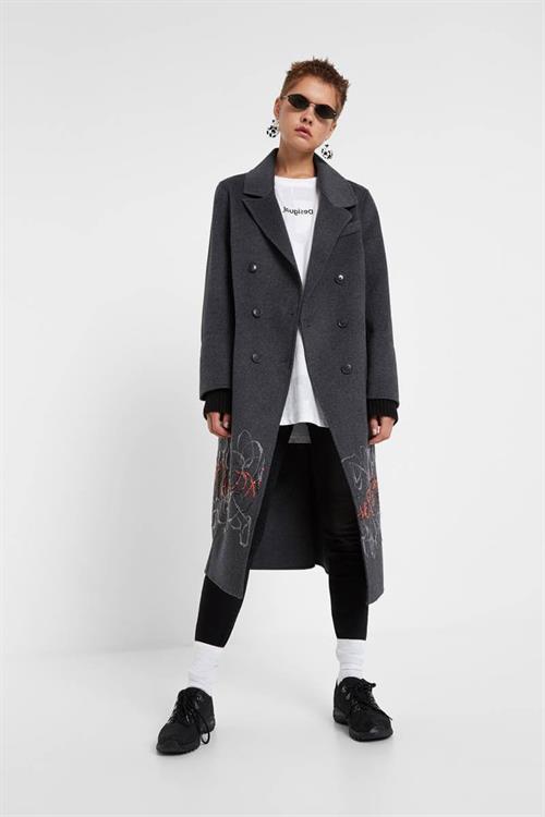 kabát Desigual Yelay gris plata