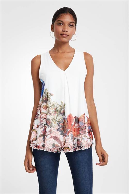 tričko Desigual Scarlett blanco
