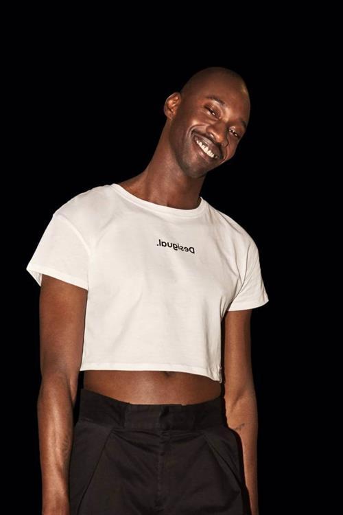 tričko Desigual Sonar Crop blanco