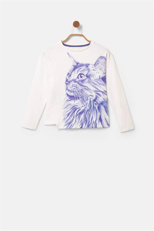 tričko Desigual Bluecat blanco