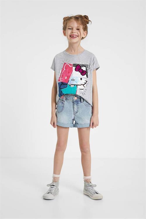 tričko Desigual Hello gris vigore claro