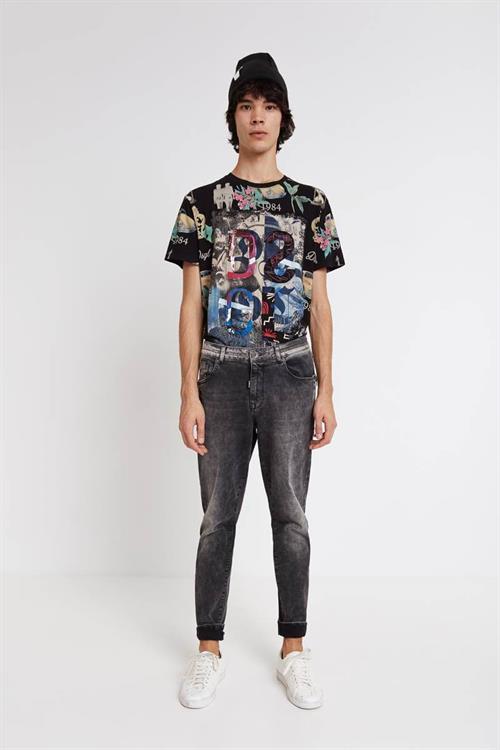 tričko Desigual Scarf negro