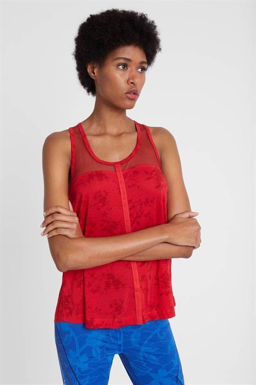 tričko Desigual Lyocell Mesh Ol rojo abril