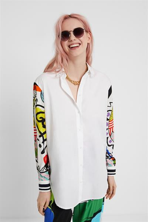 košile Desigual Tarento blanco