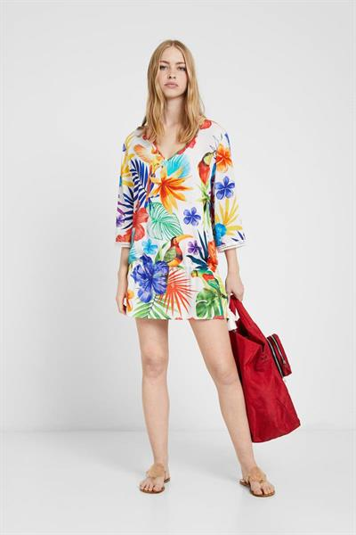 plážové šaty Desigual Aruba blanco