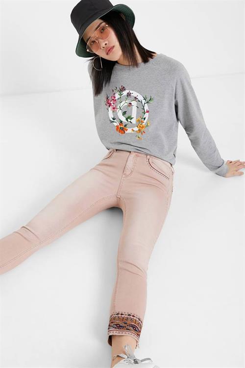 džínsy Desigual Afri rosa palo