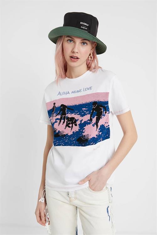 tričko Desigual Duke blanco