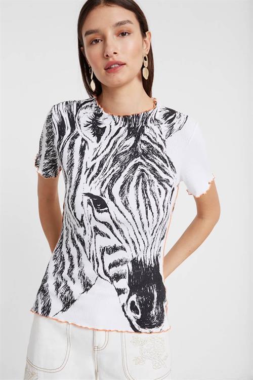 tričko Desigual Zebra blanco