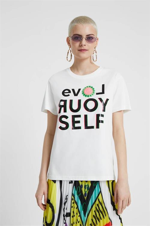 tričko Desigual Love Your Self blanco