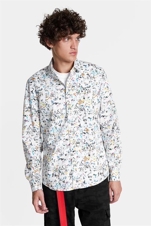 košile Desigual Roque multicolor azul