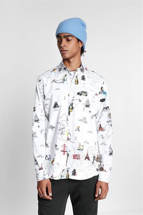 košile Desigual Vidal blanco