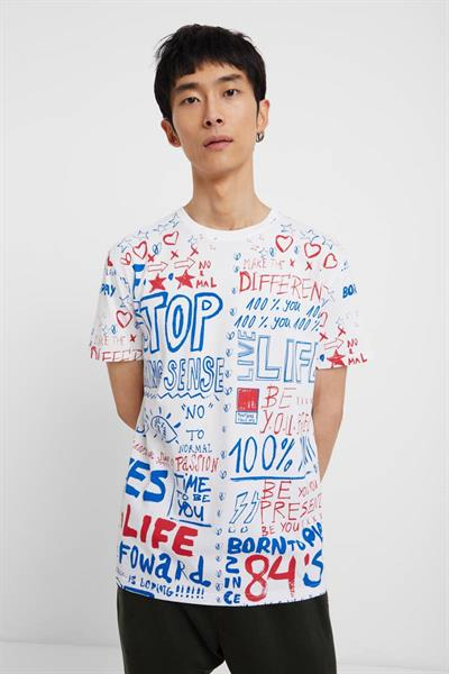 tričko Desigual Carre blanco brillante