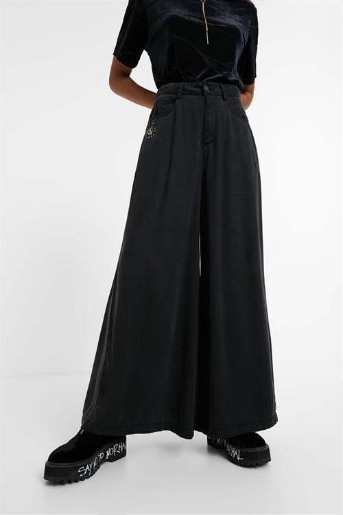jeansy Desigual Super Wide L black denim