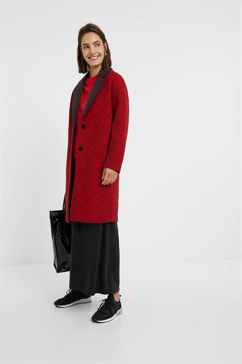 kabát Desigual Aren rojo oscuro