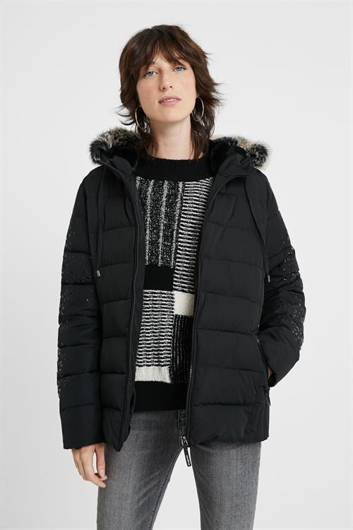 kabát Desigual Padded Comix negro