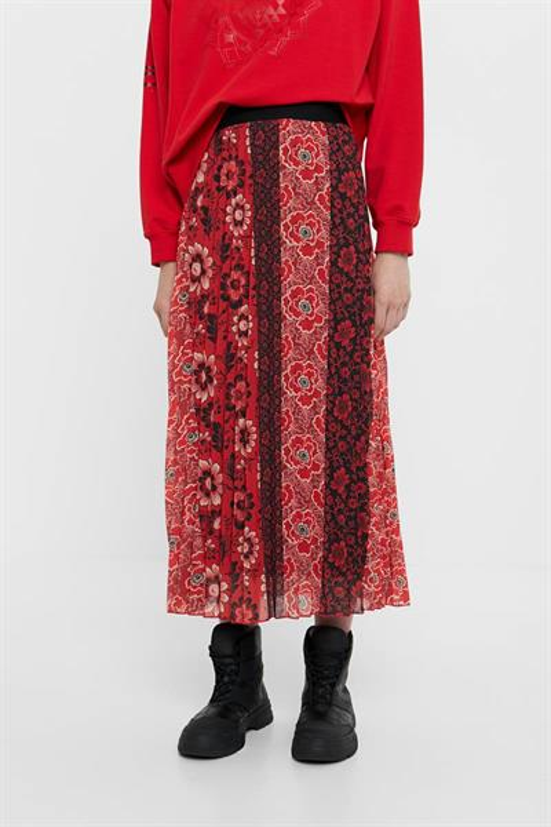 sukně Desigual Rosal borgona
