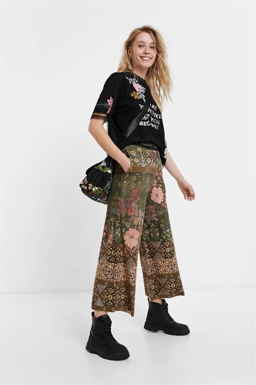 kalhoty Desigual Frida verde caja