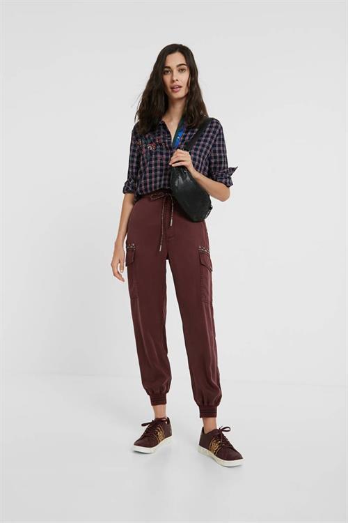 kalhoty Desigual Greta borgona