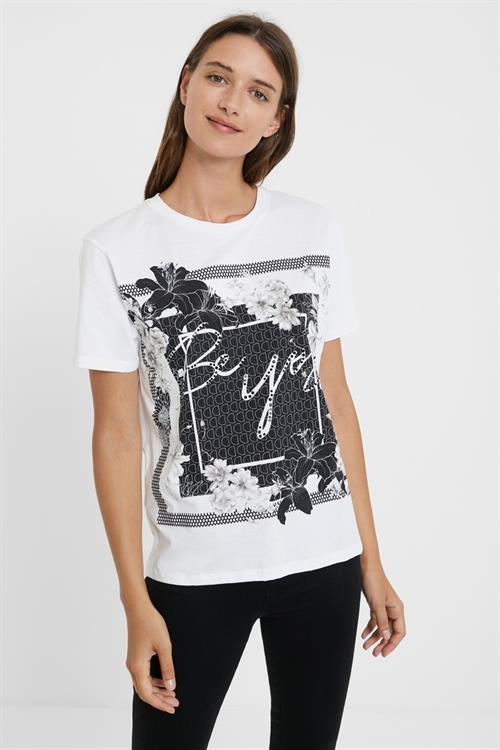 tričko Desigual Arizona blanco