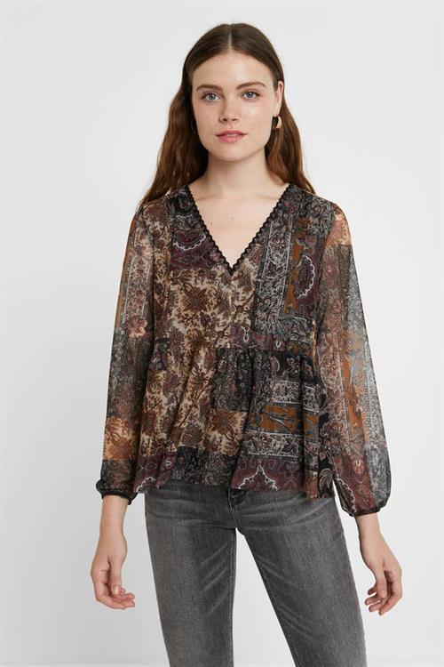 tričko Desigual Katrina marron