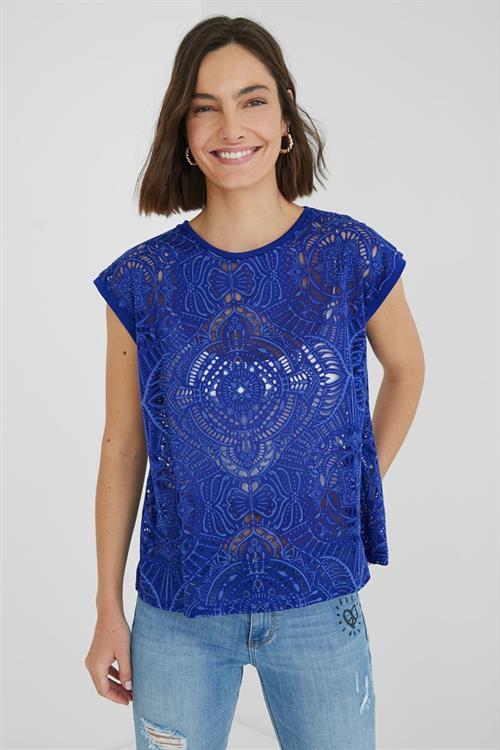 tričko Desigual Nilo azul klein